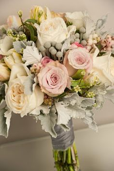 Pretty colouring with lots of texture - faith roses, garden roses, dusty miller…