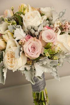 Pink, grey and cream wedding bouquet