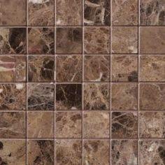 Dark Emperador Marble 2x2 Square Mosaic Backsplash Tile