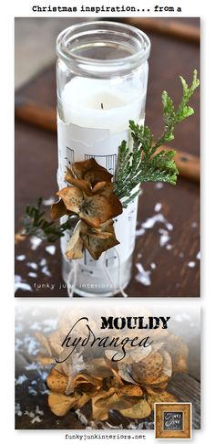 Jar candle wrapped with torn sheet music, greens, hydrangeas and key - all w/ string! Merry Christmas To All, Christmas Candles, Christmas Holidays, Christmas Crafts, Christmas Decorations, Christmas Ornaments, Holiday Decorating, Christmas Ideas, Country Christmas