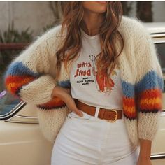 Women's Patchwork Knitted Cardigan Sweater Pull Sleeve Loose Casual Cardigans For Female 2019 Autumn Fashion Sweaters Coat Women-in Cardigans from Women's Clothing on AliExpress Cardigan Long, Long Sleeve Sweater, Knit Cardigan, Cardigan Sweaters, Cardigan Pattern, Mode Outfits, Fall Outfits, Casual Outfits, Summer Outfits
