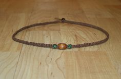 Men's Brown Hemp Choker Necklace  Wooden by MidwestTexanDesigns
