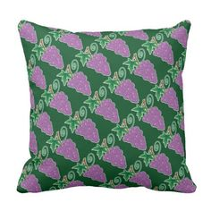 Grapes Purple and Green Throw Pillow - $34.95 - Grapes Purple and Green Throw Pillow - by #RGebbiePhoto @ #zazzle - #Grape #Bunch #Purple - Don't forget to decorate your couch and chairs! A grape bunch on a vine. Forest green background with purple grapes gives this image a natural feel. Great gifts for wine lovers, purple and green natural theme.