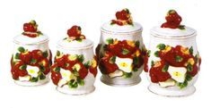 APPLE 3-D Canisters Set of 4 ^NEW^ Canister