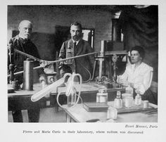 Marie Curie and Pierre Curie in their laboratory