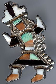 VINTAGE ZUNI INDIAN SILVER INLAID CORAL ONYX TURQUOISE RAINBOW MAN PIN