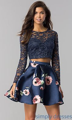 f6b5a3b030d3 Shop long-sleeve two-piece short navy homecoming dresses at Simply Dresses.  Semi