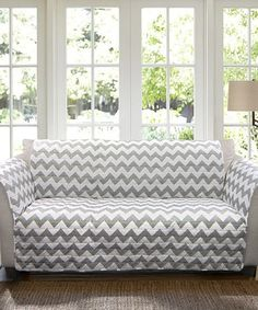 Loving this Gray & White Chevron Sofa Protector on #zulily! #zulilyfinds