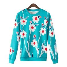 Floral Print Round Collar Long Sleeves Sweatshirt (311.535 IDR) ❤ liked on Polyvore featuring tops, hoodies, sweatshirts, blue long sleeve top, sweat shirts, blue sweatshirt, blue top and long sleeve sweatshirt