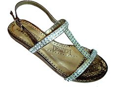 Desideri 9193 Women Italian Leather Dressy Flat Sandals Bronz Size 36 ** Find out more about the great product at the image link.