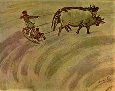 Leveling the Plough Field - Moi Deya - by Artist Zainul Abedin, Bangladesh Asian Art, Art World, Watercolor Art, Moose Art, Sculpture, Sketch, Pencil, Teacher, Animals