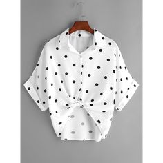 SheIn(sheinside) Textured Dots Knot Front Cuffed Blouse ($10) ❤ liked on Polyvore featuring tops, blouses, white, white collared blouse, embellished blouse, collar blouse, sleeve blouse and polka dot top