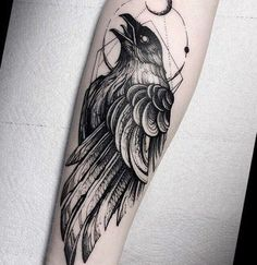 100 Ideas of Raven Tattoo Designs // August, 2019 Crow Tattoo For Men, Black Crow Tattoos, Cover Up Tattoos For Men, Crow Tattoo Design, Black White Tattoos, Forearm Tattoo Men, Tattoo Designs Men, Tattoos For Guys, Forarm Tattoos