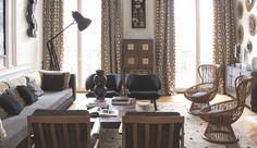 Éclectique, précieux, chaleureux, l'appartement haussmannien de la décoratrice d'intérieur Catherine Bedel brouille les repères. Un esprit rive gauche, artiste et référencé, qui se conjugue au plus-que-parfait avec la vie de famille, dans une harmonie en noir et fauve.