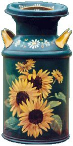 Anna Leonhard - Milk Cans - Modern Design Painted Milk Cans, Painted Pots, Paint Cans, Sunflower Pictures, Sunflower Art, Tole Painting Patterns, Wood Patterns, Henna Patterns, Milk Can Decor