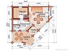 Проект бани неправильной формы из бревна  / План 1 этажа