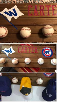 Make a cool diy baseball hat rack for the man in your life. Cool for a kids room. Diy Home Decor Easy, Easy Diy Crafts, Diy Room Decor, Bedroom Decor, Wall Decor, Baseball Room Decor, Baseball Crafts, Cool Diy, Baseball Hat Racks