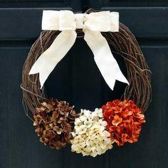 Rustic Thanksgiving Grapevine Wreath, Autumn / Fall Front Door Decoration, Summer Door Hanger with Brown Cream & Orange Hydrangeas