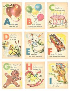 Free Vintage Alphabet Printables | Vintage Alphabet Flash Cards printable | Bambino Goodies