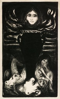 """""""The Urn"""" (1896) by Norwegian painter Edvard Munch. Litograph. Oslo, The Munch Museum."""