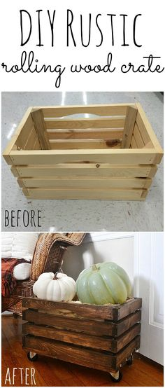 DIY rolling crate- so easy to make & all of the items were found at Walmart!