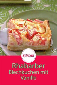 Du bist der Suche nach einem köstlichen Frühlingskuchen? Wir haben ein Rezept für Rhabarber Blechkuchen mit leckerer Vanillepudding-Schicht! #rhabarber #rhabarberkuchen #blechkuchen #frühling #frühlingskuchen #obstkuchen #backen #rezept #backrezept #fuersiemagazin Vanilla Recipes, Rhubarb Recipes, Baking Recipes, Keto Recipes, Cake Recipes, Healthy Dessert Recipes, Desserts, Spring Cake, Easter Cupcakes