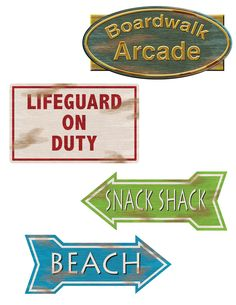 Beach Sign Cutouts come in 4 different signs: Lifeguard on Duty measures approximately 12 wide x 7.5 high, Boardwalk Arcade measures approximately 14 wide x 7 high, Snack Shack measures approximately 14 wide x 5.5 high, Beach measures approximately 14 wide x 5.5 high. The cutouts have the same image on both sides. Signs have a perforated holes.