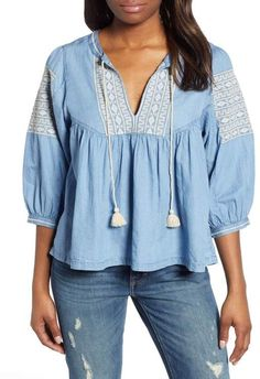Women's Lucky Brand Embroidered Peasant Top, Size X-Large - Blue Cool Outfits, Summer Outfits, Summer Clothes, Nordstrom Beauty, Prom Looks, Peasant Tops, Fashion Branding, Looking For Women, Chambray