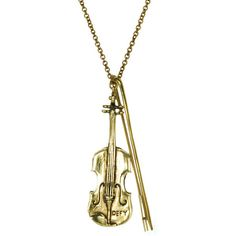 Monserat De Lucca Brass Violin Necklace (82,375 KRW) ❤ liked on Polyvore featuring jewelry, necklaces, accessories, monserat de lucca jewelry, chain necklace, brass chain necklace, bow necklaces and brass jewelry