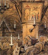Interieur van een Zweedse kerk by Anton Pieck