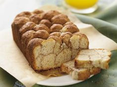 Cinnamon Monkey Bread. (comments say too dry, but could add a box of vanilla pudding).  Ingredients: sugar, cinnamon, Bisquick mix, milk, sugar, butter, vanilla, egg, powdered sugar (optional)