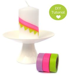 residential wasabi: DIY - candles Wimpelkette - Washi Tape Candle Bunting