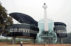 Grand piano and violin in glass...where is this?!