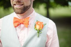 #Peach #wedding color palette inspiration- #groom #bowtie. See the post at http://tulleandtwine.com/2013/11/19/feeling-peachy