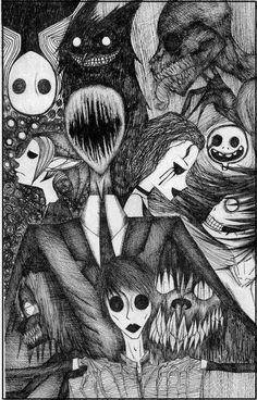All creepypasta : Slenderman, Jack Eyeless, Mr Widemouth, The Rake,Bob, Jeff the killer, Jane the kille, Ben drowed, Smile dog.jpg and Masky .