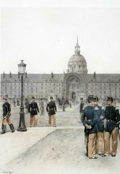 Print by Edouard Detaille les Invalides in background Edouard Detaille, German Confederation, Steampunk Airship, Second Empire, French Empire, French Army, Military Art, France, Art And Architecture