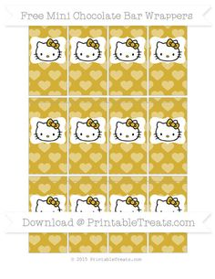 Free Metallic Gold Heart Pattern Hello Kitty Mini Chocolate Bar Wrappers