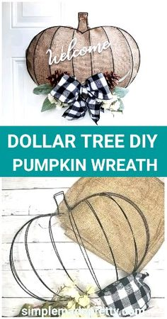 New Cost-Free DOLLAR TREE DIY Pumpkin Wreath - Pumpkin Wreath Form, Dollar Tree Fall DIY Style These decorations are easy and easy, but some people may possibly never have these a few ideas combi Dollar Tree Pumpkins, Dollar Tree Fall, Dollar Tree Decor, Dollar Tree Crafts, Dollar Tree Halloween Decor, Halloween Wood Signs, Halloween Mesh Wreaths, Dollar Tree Finds, Dollar Store Halloween