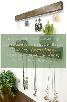 Jewelry Organizer Wall Diy | Wall Mounted Jewelry Organizer, Jewelry Rack, Jewelry Organizer, Stained Jewelry Rack, Gifts for Her, Anniversary Gifts, Organization | Jewelry Organizer Closet | Jewelry Organizer Wall Closet Ideas Closet Organization, Jewelry Organization, Gas Money, Types Of Purses, Wall Mount Jewelry Organizer, Jewelry Rack, Polymer Beads, Seashell Jewelry, Unique Purses
