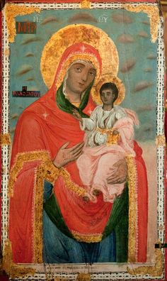 Blessed Mother and child Jesus Mother And Child Painting, Images Of Mary, Blessed Mother Mary, Byzantine Art, Religious Icons, Art Icon, Orthodox Icons, My Favorite Image, Christian Art