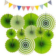 Picnic Centerpieces, Carnival Party Decorations, Paper Fans, Pattern Paper, Garland, Favors, Amazon, Green, Cinco De Mayo