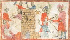 Illustration to a Haggadah for Passover (the Sister Haggadah)Oriental 2884 folio 3vBritish Library, London, England Spain (Barcelona), circa 1325–1375
