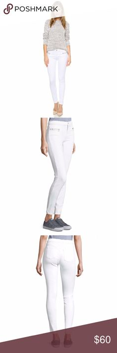 J BRAND Emma Mid Rise White Skinny Jeans Sz 22/00 Mid-rise jeans with side zip pockets and back slip pockets. Brand new with tags! Labeled Size 22 converts to 00 J Brand Jeans Skinny
