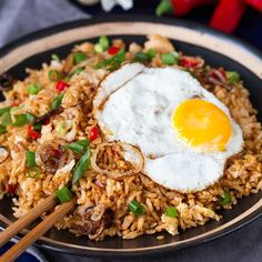 Here's my take on Indonesian fried rice. A hot and spicy meat-free meal with crispy onions, finished off with a fried egg. Nasi Goreng, Indian Food Recipes, Asian Recipes, Vegetarian Recipes, Cooking Recipes, Indonesian Fried Rice Recipe, Indonesian Food, Easy Cook Rice, Dried Lentils