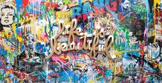 Available for sale from Contessa Gallery, Mr. Brainwash, Life is Beautiful Cardboard Cutout and Mixed Media on Canvas, 48 × 84 in Graffiti Art, Mr Brainwash Art, Dance Studio Design, Chill Style, Urbane Kunst, Urban Art, Life Is Beautiful, Mixed Media Art, Street Photography