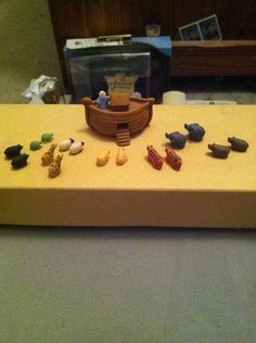 unknown artist - Noah's ark made from polymer clay, includes Noah and a  pair of…