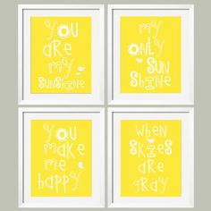 You Are My Sunshine  My only Sunshine 4 pc Art by YassisPlace, $59.90
