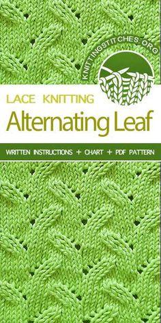 Knitting Stitches -- LEARN TO KNIT Alternating Leaf knit stitch #learntoknit #knitstitchpattern