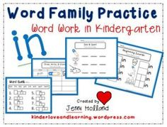Word Work: The 'in' Word Family.  Teach and learn with over 13 different activities.  Kindergarten friendly!