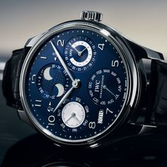 IWC Portuguese Perpetual Calendar Blue Dial 18kt White Gold Black Leather Mens Watch IW503203 #iwc #menswatch #iwant  $33,520